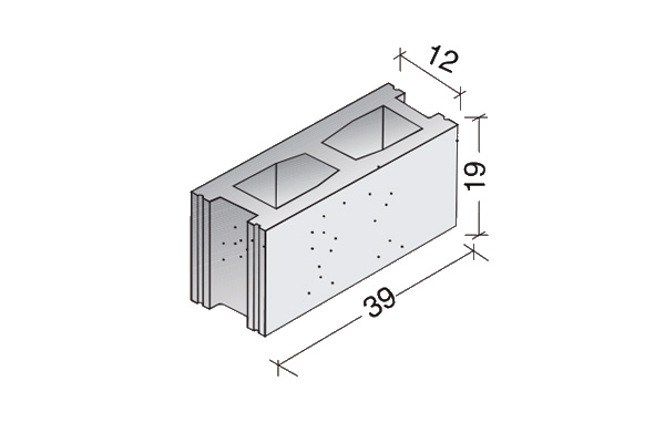 Bloque básico 40 x 20 x 12 cm.