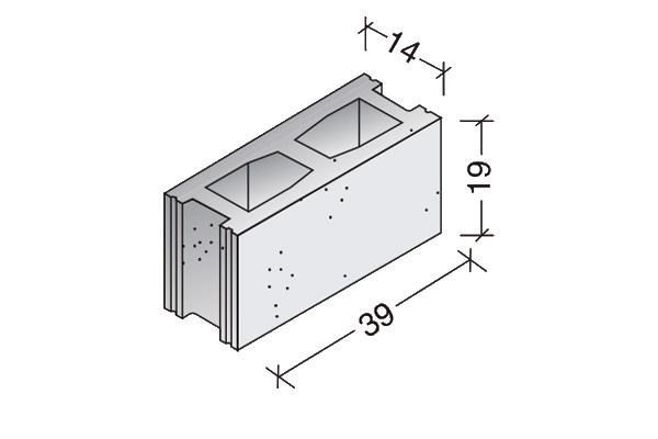 Bloque básico 40 x 20 x 15 cm.