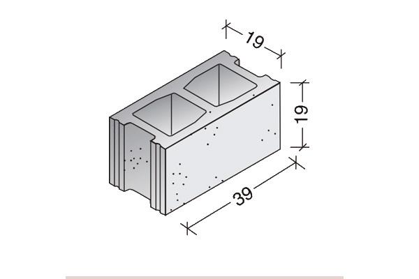 Bloque básico 40 x 20 x 20 cm.