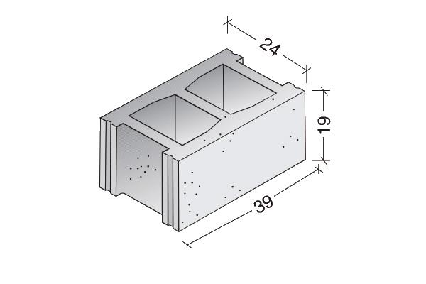 Bloque básico 40 x 20 x 25 cm.