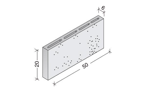 Tabiqueros de hormigón de Arlita 50 x 20 x 6 cm.