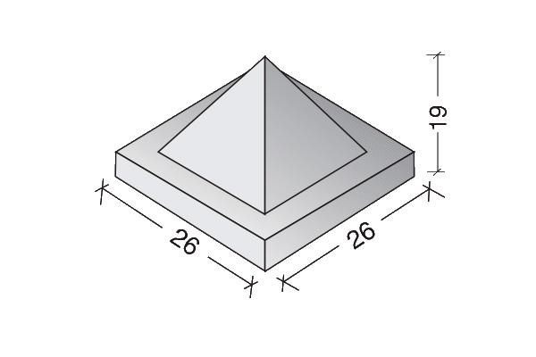 Sombreretes piramidales 26 x 26 x 19 cm.