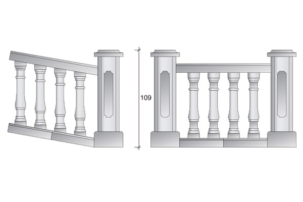 Balaustrada clásica. Balaustradas y cornisas de hormigón en Juan Roces S.A.