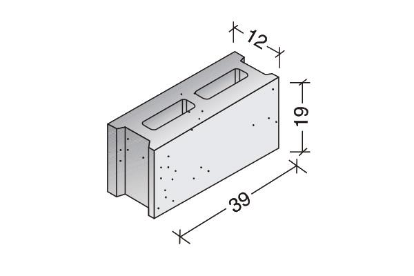 Bloque común 40 x 20 x 12 cm.