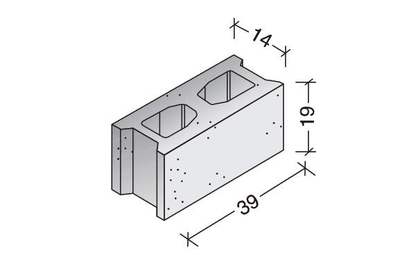 Bloque común 40 x 20 x 15 cm.