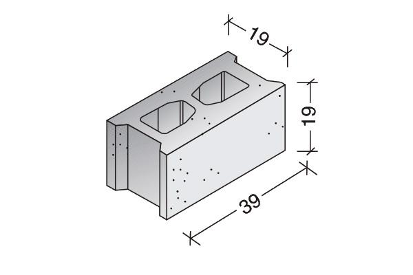 Bloque común 40 x 20 x 20 cm.