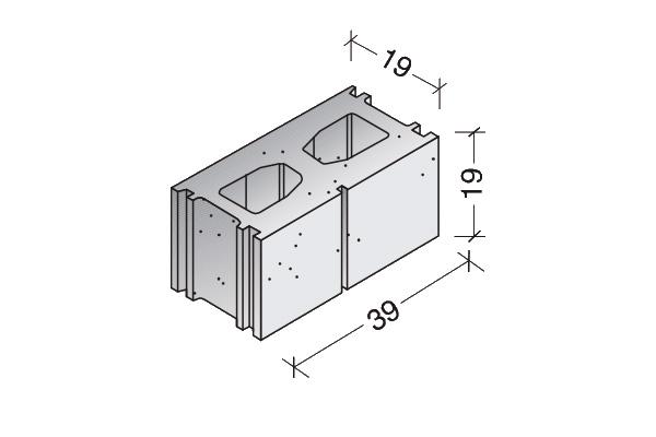 Bloque Standard rayado 40 x 20 x 20 cm.