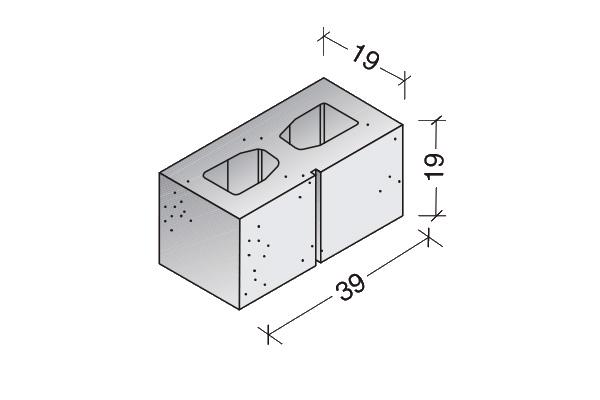 Bloque Standard rayado 40 x 20 x 20 cm., dos caras lisas