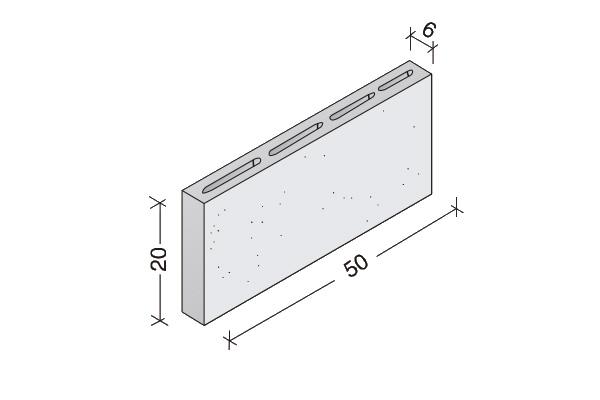 Tabiquero de hormigón 50 x 20 x 6 cm.