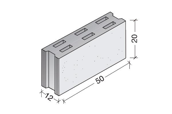 Bloque de hormigón medianería 50 x 20 x 12 cm.