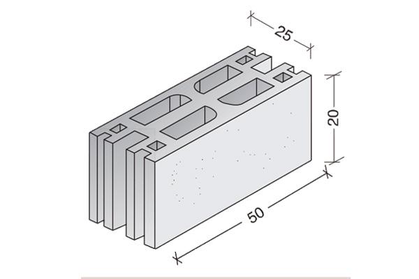 Bloque de hormigón multicámara 50 x 20 x 25 cm.