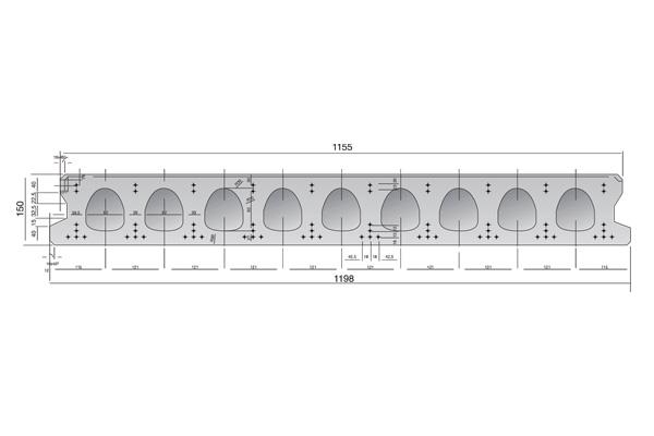 Forjado de placas alveolares pretensadas Roces 1198 x 150 cm.