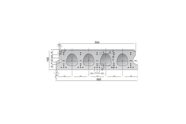 Forjado de placas alveolares pretensadas Roces 593 x 150 cm.