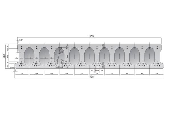 Forjado de placas alveolares pretensadas Roces 1198 x 200 cm.