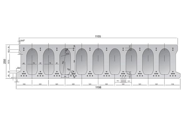 Forjado de placas alveolares pretensadas Roces 1198 x 250 cm.