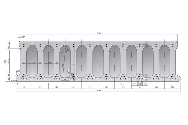 Forjado de placas alveolares pretensadas Roces 1198 x 300 cm.