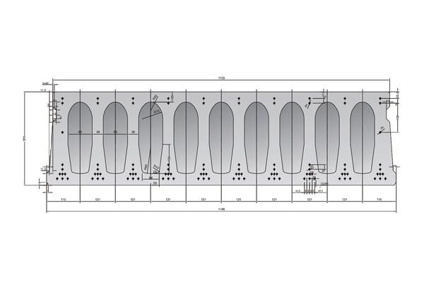 Forjado de placas alveolares pretensadas Roces 1198 x 320 cm.