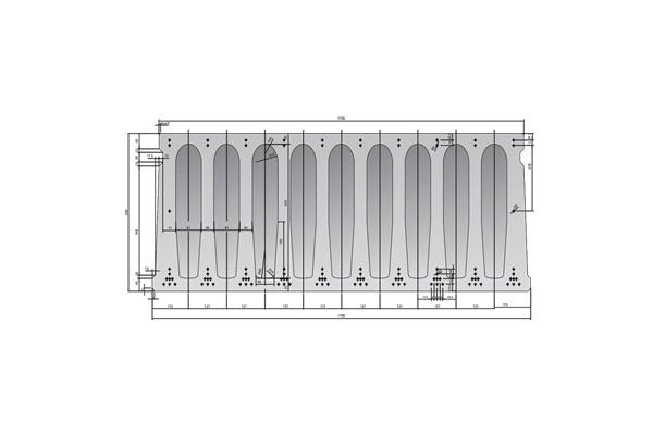 Forjado de placas alveolares pretensadas Roces 1198 x 500 cm.