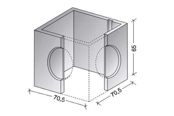 Arqueta abierta 60 x 60 cm.