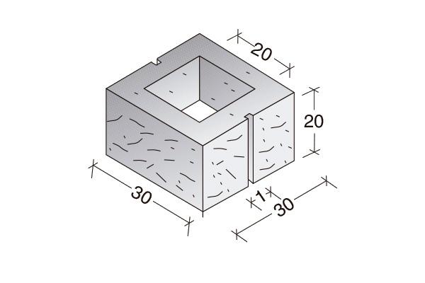 Pieza Split 30 x 30 x 20 cm.