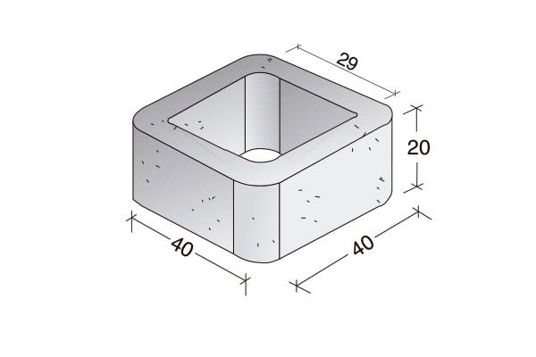 Pilar de hormigón 40 x 40 x 20 cm.