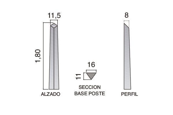 "Postes de cierre modelo ""L""; 1,80m"
