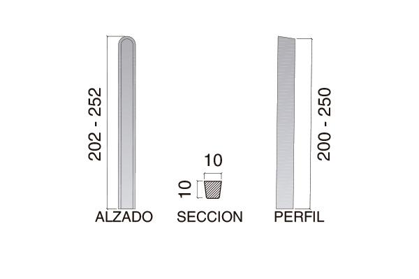 """Poste de cierre modelo """"L""""; 2,00 m"""