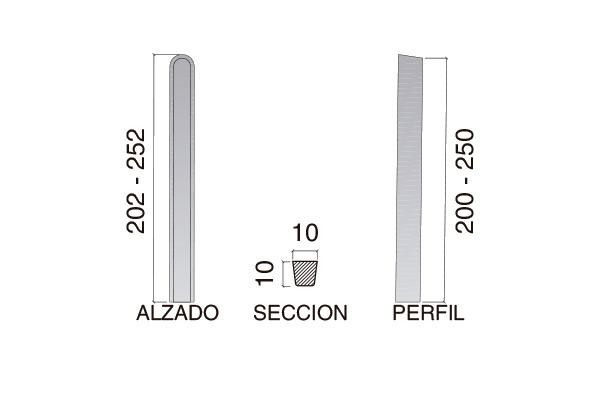 """Poste de cierre modelo """"L""""; 2,50 m"""